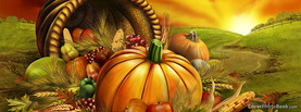 Thanksgiving Sunset Meadow Fruits, Free Facebook Timeline Profile Cover, Holidays