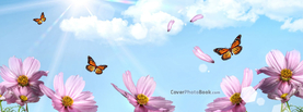 Spring Pink Flowers Butterflies, Free Facebook Timeline Profile Cover, Nature