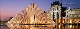 Louvre Aglow Paris France, Free Facebook Timeline Profile Cover, Places