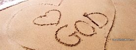 Heart God Love Beach Sand Writing, Free Facebook Timeline Profile Cover, Religion
