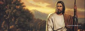 Jesus Christ Sitting with Staff River, Free Facebook Timeline Profile Cover, Religion