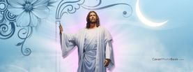 Jesus Christ in Clouds Floral Moon, Free Facebook Timeline Profile Cover