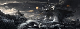 Aircraft Carrier in Naval Battle Battlefield, Free Facebook Timeline Profile Cover, Vehicles