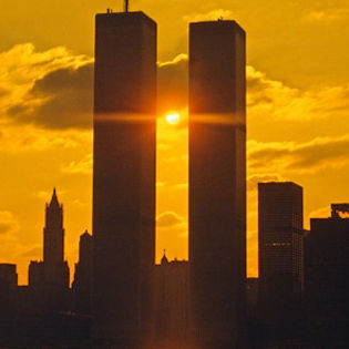 Twin Towers Dark Sunset Facebook Cover Places