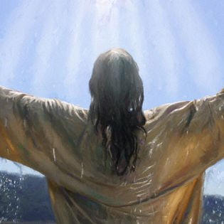 Jesus Christ Raise Hands In Water Facebook Cover Religion
